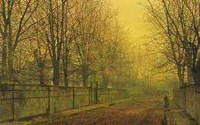 Обои пейзаж, Джон Эткинсон Гримшоу, забор, улица, Золотой Отблеск Осени, деревья, дома, John Atkinson Grimshaw, картина