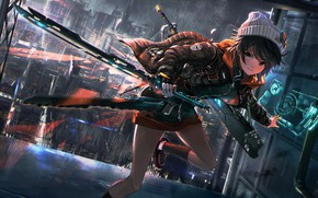 Картинка девушка, оружие, бежит