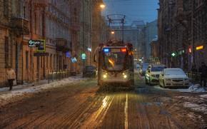 Обои Санкт-Петербург, снег, трамвай, улица