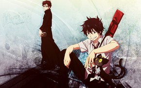 Картинка аниме, арт, парень, братья, Ao no Exorcist, Синий экзорцист, полудемон, Юкио Окумура, Окумура Рин
