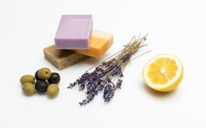 Картинка лимон, мыло, лаванда, спа