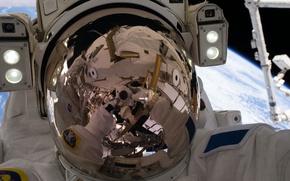 Обои отражение, США, МКС, астронавт, НАСА, Тома Песке