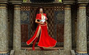 Картинка девушка, стена, красный наряд