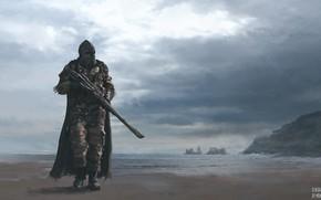 Картинка море, скалы, берег, воин, Post-Apocalyptic Warriors