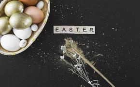 Картинка золото, яйца, пасха, Буквы, Праздник