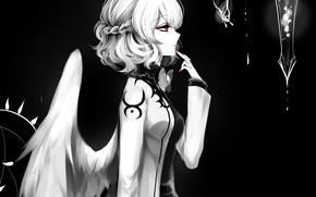 Картинка девушка, капли, Touhou, Тохо, Тоухоу, аниме игра