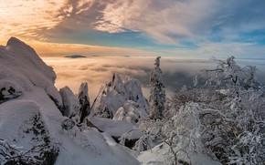 Картинка зима, небо, солнце, облака, снег, деревья, горы, камни, скалы, высота, Урал
