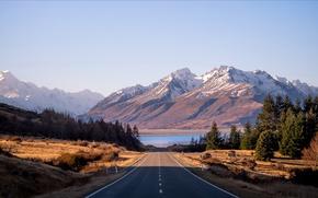 Картинка дорога, горы, утро