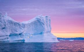 Картинка лед, зима, море, небо, вода, снег, пейзаж, природа, розовый, рассвет, лёд, утро, айсберг, льды, глыба, …