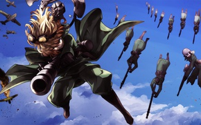 Картинка explosion, girl, soldiers, soldier, sky, aircraft, military, war, anime, cloud, fight, blonde, asian, manga, oriental, …