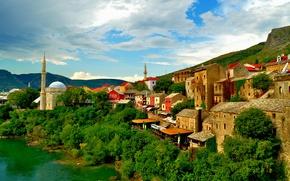 Картинка здания, дома, мечеть, Босния и Герцеговина, Mostar, река Неретва, Мостар, Neretva River, Bosnia and Herzegovina