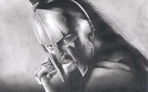 Картинка рисунок, карандаш, Леонид, 300 Спартанцев