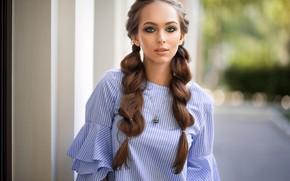 Картинка портрет, макияж, платье, прическа, шатенка, красотка, боке, косы, Maria, Dmitry Sn