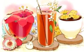 Картинка цветок, красный, стакан, сок, существа, чашки, напиток, птенцы, соломинка, подставки