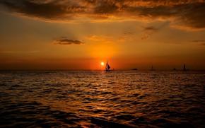 Картинка закат, океан, спорт, яхты, вечер, парус