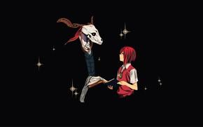 Картинка девушка, череп, аниме, арт, Mahou Tsukai no Yome, The Ancient Magus' Bride, Невеста чародея