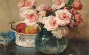 Картинка цветы, картина, Натюрморт с Фруктами, Fernand Toussaint