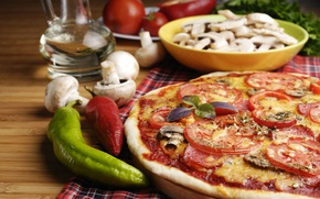 Картинка зелень, грибы, сыр, перец, пицца