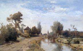 Картинка мост, природа, дом, река, картина, Поль Жозеф Константин Габриэль, Пейзаж в Кортенхоеф