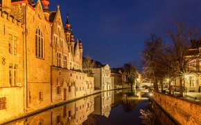 Картинка ночь, огни, дома, канал, Бельгия, Брюгге