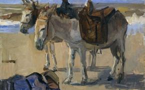 Картинка животные, картина, Исаак Исраэлс, Два Осла