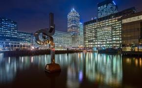 Картинка ночь, огни, Англия, Лондон, дома