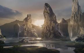 Картинка деревья, горы, птицы, водопад, magic