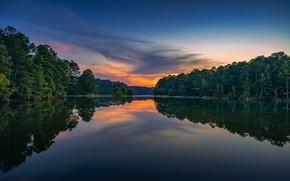 Картинка лес, закат, озеро, отражение, Georgia, Джорджия, West Point Lake