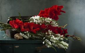 Картинка цветы, букет, сумка, гладиолусы