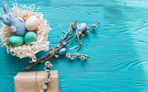 Обои ветки, подарок, яйца, весна, Пасха, wood, верба, blue, gift, spring, Easter, eggs, decoration, Happy, tender