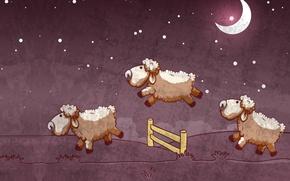 Картинка ночь, настроение, луна, забор, сон, вектор, звёзды, арт, картинка, детская, бараны