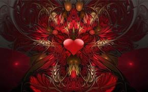 Обои сердце, узор, красный
