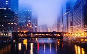 Картинка ночь, мост, город, огни, река, небоскребы, usa