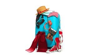 Картинка отдых, одежда, кеды, шляпа, наушники, белый фон, чемодан, ласты