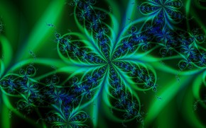Картинка цвет, чёрный фон, зелёный узор