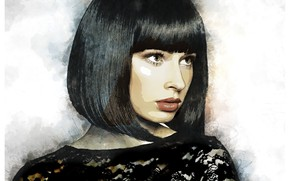 Картинка девушка, арт, прическа