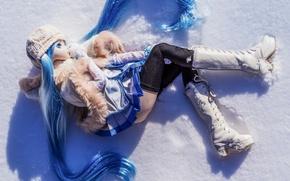 Обои кукла, снег, настроение, игрушка