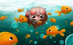 Картинка рыбки, настроение, мальчик, арт, любопытство, Underwater, детская, Shana Vandercruysse