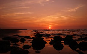 Картинка море, закат, берег, вечер