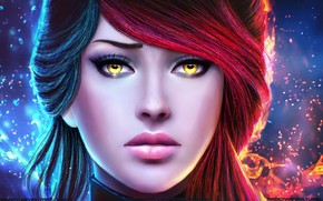 Картинка взгляд, девушка, лицо, красота, маг, art, Guild Wars, weaver, gw2