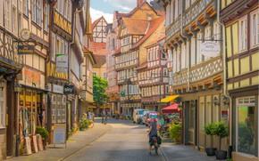 Картинка улица, здания, дома, Германия, Germany, Нижняя Саксония, Lower Saxony, Ганноверш-Мюнден, Hannoversch-Muenden
