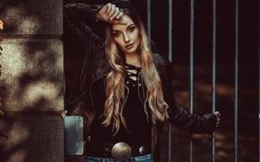 Картинка взгляд, стиль, модель, волосы, куртка, блондинка, ремень