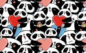Обои панды, сердечки, мишки