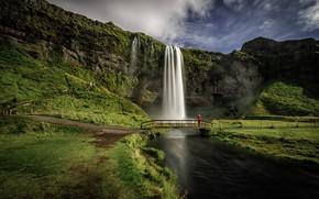 Обои река, Селйяландсфосс, Исландия, скалы, Seljalandsfoss, Iceland, водопад, мост