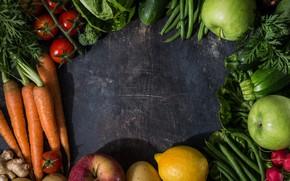 Картинка зелень, Овощи, Фон, фрукты