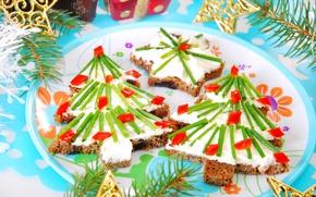 Картинка праздник, Новый год, ёлочки, бутерброды
