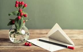 Обои ваза, письмо, карандаш, цветы