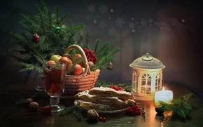 Обои январь, счастье, новый год, свеча, елка, натюрморт, мандарины, рождество, зима, чай, лимонный пирог