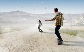 Картинка дорога, небо, девушка, солнце, пейзаж, горы, воздушные шары, поля, парень, двое, скейты, скейтборд, аэростаты