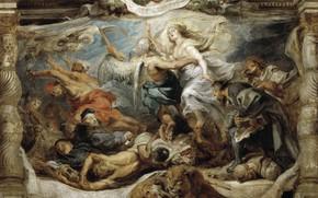 Картинка картина, Питер Пауль Рубенс, мифология, Pieter Paul Rubens, Триумф Католической Истины